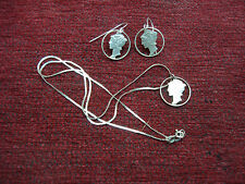 """NICELY MADE MERCURY DIME CUT-OUT PENDANT NECKLACE WITH 18"""" CHAIN  & EARRINGS TOO"""