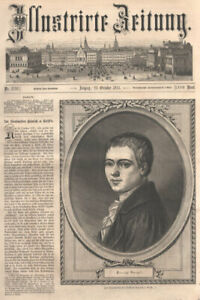 """""""Heinrich v. Kleist"""" 1777-1832  deut.Dramatiker, Erzähler Orig. Holzstich v.1876"""