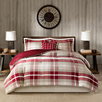 WOOLRICH $220 Twin Comforter Set 4pc NEW SHERIDAN RED PLAID cabin lodge tan