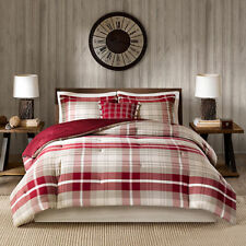 JCPENNEY/Woolrich $280 Full Comforter Set 5p FARMHOUSE RED PLAID new