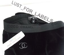 CHANEL Black Velvet Crystal CC Footless Tights Medium Skinny Pant NWT