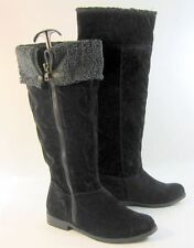 "new ladies Dollhouse Black 1"" Block Low Heel Sexy Knee Boot Size 6"