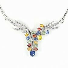 SAPPHIRE NECKLACE NATURAL AAA FANCY MULTICOLOR  ~ WHITE GOLD/925 STERLING SILVER