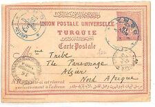 PP25 1916 TURKEY Stationery Postcard Super PERA Blue CDS to Algeria