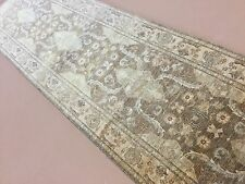 "3'.4"" X 12'.1"" Light Brown Oushak Persian Oriental Rug Wide Runner Hand Knotted"