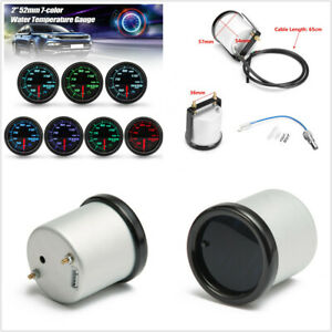 12V Car 2 inch/52mm 7 Colors LED Water Coolant Temperature Gauge 40-120 Degrees
