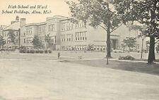 High School and Ward School Buildings Alma MI Mich Michigan Postcard