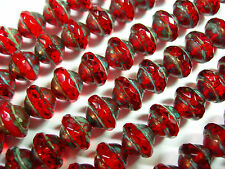 21 7mm Red Travertine Czech Glass Faceted Saturn Beads