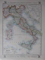 1912 Landkarte ~ Italien Sardinien Sizilien Piedmont ROM Toskana Umbrien