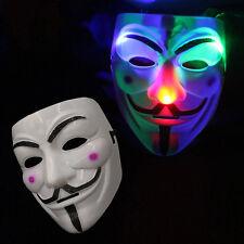 Luminous LED Mask V for Vendetta Guy Halloween Costume Cosplay Props