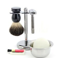 ZY Pearl Black Shaving Set Manual Razor Badger Brush Alloy Bowl Stand Soap New