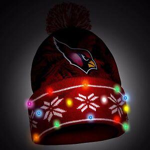 Arizona Cardinals Big Logo Light Up Printed Beanie Winter Hat Toque Cuffed Pom