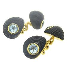 New Trianon Aquamarine Shell 18k Yellow Gold Cufflinks $4000