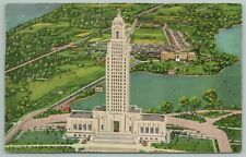 Baton Rouge Louisiana~LA State Capitol Bldg From The Air~Vintage Postcard