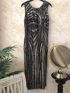 New Zara Sequin Cocktail Evening Dress Art Deco Glamour Size Small (U.K. 8)
