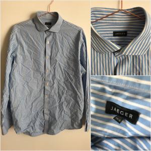 Jaeger Mans Stripe Blue White Classic Long Sleeve Dress Button Down Shirt 16.5