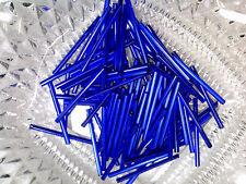Vtg 200 SILVER LINED DARK SAPPHIRE BLUE GLASS BUGLE BEADS 35mm #042314j
