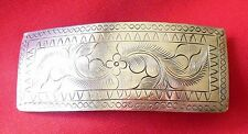 Vintage Silver-tone or Sterling Silver Etched Engraved Barrette Hair Clip