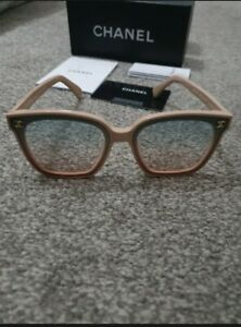 Chanel Ombré Nude/pink Purple/grey Sunglasses. Never Worn. Embossed Arms