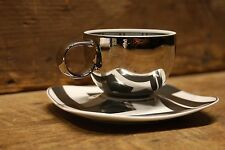 """VERSACE by Rosenthal """"Dedalo Platinum""""   cup and saucer small  NEW OLD STOCK!"""