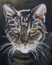"""CUSTOM CAT PORTRAIT PAINTING by artist BETS 14"""" X 18"""" Your Beloved Cat on Canvas"""