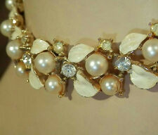 Lovely BSK Vintage 50's White Glass Faux Pearl Rhinestone Leaf Necklace 266S5