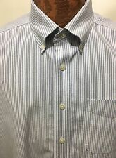 LL Bean 17 Reg Blue White Button-Down ShortSleeve Cotton Shirt Wrinkle Resistant