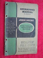 VINTAGE ORIGINAL JOHN DEERE STEEL PORTABLE GRAIN & HAY ELEVATOR OPERATORS MANUAL