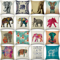 "18"" Elephant Print Cotton Linen Cushion Cover Pillow Case Sofa Home Decor"