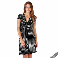 Womens Polka Dot Print Twist Knot Front V Neck Mini Swing Dress Party Summer Black (cap Sleeve) 16