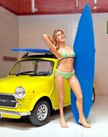 G LGB 1:24 Scale Surfing Surfer Female Girl Chick & Surf Board VW Bay Diorama