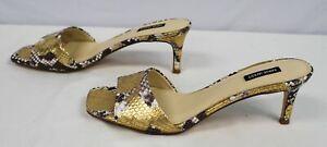 Nine West Women's Marina Heeled Slide Sandals OS6 Gold Snake Print Size US:10
