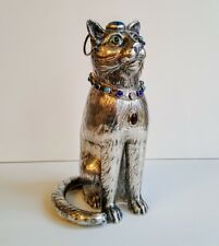 Antique German Silver Gem Studded  Model Cat Box or Tea Caddy Large Realistic