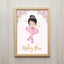 Ballerina Name Personalisiertes Bild Kunstdruck A4 Ballet Tanzen Kinderzimmer