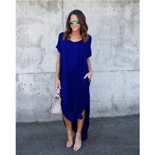 Womens T-Shirt Long Maxi Dress Split Evening Party Solid Shirt Dress Summer Plus