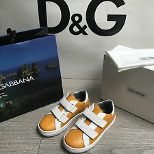 BNIB DOLCE & GABBANA Leather Sneakers DG Trainers RRP£165 UK8.5 Eu26 100%Genuine
