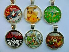 CLEARANCE SALE  Set of Six Lovely POKEMON  Glass Dome Pendants & Necklaces   a