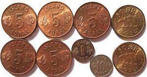 2 Greenland 50 Ore 1926 Gem Unc 5 Iceland 5 Aurar Unc 10 Aurar 1946 1 Eyrir 1953
