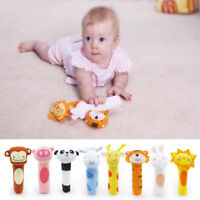 Durable Animal Soft Plush Sound Handbells Squeeze Rattle Newborn Baby Kids Toy