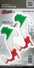 Aufkleber 3D Länder-Flaggen - Italien Italy 100 x 85mm mit Chromrand - 300090