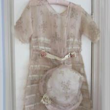Antique c1930s HandMade SUMMER Organza FLORAL Dress LACE Trim w BONNET Millinery