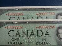 1954 Canada 1 Dollar Replacement Bank Note-*AA0092268-69-UNC-  20-632