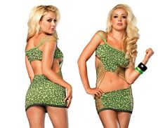 Leg Avenue, Neon Green Leopard Print Mini Dress, Sexy Clubbing Outfit, Rave