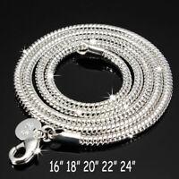 Damen Herren Schlangenkette 3 mm 925 Sterling Silber plattiert Halskette