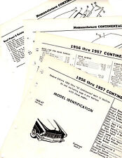 1956 1957 CONTINENTAL MARK II BODY PARTS LIST FRAME CRASH SHEETS 5257WE
