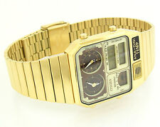 CITIZEN THERMOMETER ANALOG-DIGITAL DUAL TIME GOLD TONE MEN'S WATCH JG2002-53P