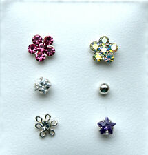 BEAUTIFUL SET OF 6 STERLING SILVER CRYSTAL NOSE STUDS - BOXED!