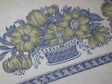 BLOOMING SPRING FLOWERS VTG GERMAN LINEN LARGE PRINT TABLECLOTH
