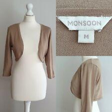 Monsoon Gold Bronze Metallic Bolero Shrug Cropped Cardigan Medium UK 10-12