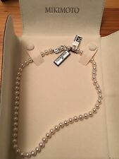 "Nwt new Mikimoto 16"" Akoya Pearl Necklace 6.5x6mm 18K white gold"